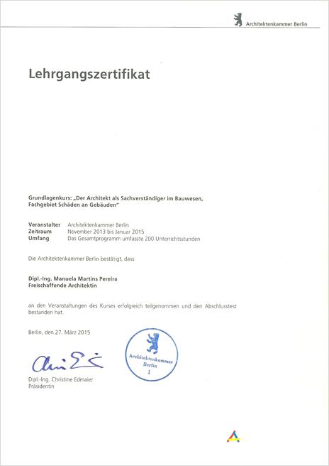 Zertifikat der Architektenkammer